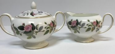 """A Wedgwood """"Hathaway Rose"""" tea / coffee service comprising coffee pot, sugar bowl and cover, cream"""