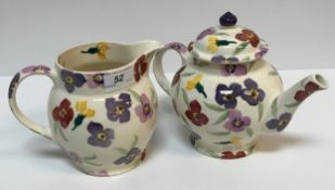 """A collection of Emma Bridgwater """"Wallflowers"""" pottery including butter dish and cover, teapot,"""
