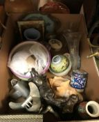 Three boxes of sundry miscellaneous items to include assorted glassware, shells, decorative china,