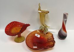 Four items of various coloured glassware including bubble glass leaf dish, 21 cm x 20 cm, a