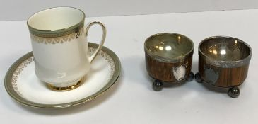 """A box containing sundry items to include Paragon """"Kensington"""" part coffee set, a pair of oak and"""