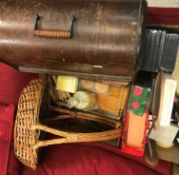 Five boxes of assorted vintage sundry items to include kitchenalia, office wares, wooden coat