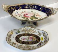 A 19th Century Staffordshire pottery pedestal dish of lozenge shaped form, the centre field