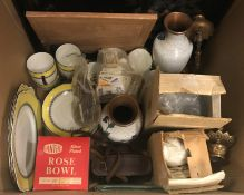 Two boxes containing various sundry items to include a Foley China yellow and black tea set, a