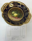 A Coalport two handled dish, the centre field decorated with greengages on a mossy ground, by