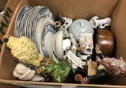 Three boxes of assorted sundry decorative china wares to include various decorative plates,