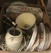 Three boxes of assorted miscellaneous china and sundry items to include a dragon decorated