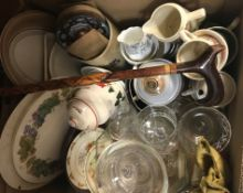 Four boxes of sundry china, glass, etc, to include a Krenit of Denmark enamelled bowl with black