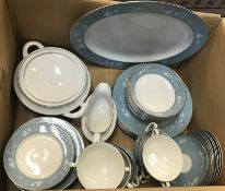 """A box containing a Royal Doulton """"Reflection"""" dinner service, all bar the dinner plates for eight"""