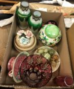 A box containing a pair of Loetz style milk glass vases with metal mounts, a Maling ginger jar and