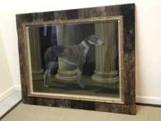 """ALAN BRASSINGTON """"Accountant"""", study of a greyhound by fluted pillars, oil on canvas, in driftwood"""