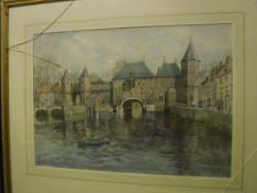 """WILLIAM CARTLEDGE (1891-1976) """"Dutch scene of boat on canal"""", watercolour, signed and dated 1962"""