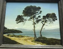 """GRANAT """"Continental coastal rocky landscape with trees in foreground"""", oil on canvas, signed and"""