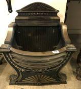 A 20th Century cast iron fire basket in the Regency style, 48 cm wide x 31 cm deep x 56.5 cm high