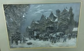 """ERNEST PILE BUCKNELL """"Winter coaching inn scene with horses and coaches in foreground"""","""
