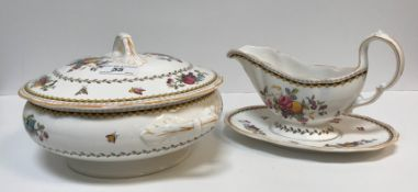 """A Spode """"Rockingham"""" pattern dinner service with fruit and floral spay decoration (No. Y5194),"""