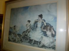 """AFTER SIR WILLIAM RUSSELL FLINT """"The Shower"""", four models in a landscape, colour print, signed in"""