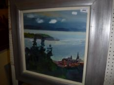 """ALMA WOLFSON """"A glimpse of Largs"""", a coastal scene, oil on canvas, signed lower right, inscribed"""