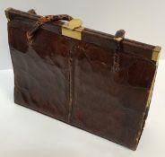 A vintage brown dyed crocodile skin handbag (un-named), 24 cm x 18.5 cm high (not including handle)