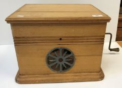 """A stripped beech cased """"The Excello"""" deluxe model table-top gramophone, 39.5 cm x 35.5 cm x 27.8"""