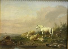 """LAMBERT GERARDT """"Farm animals in landscape with church spire in background"""", oil on panel, signed"""