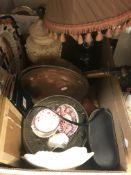 Five boxes of various 19th Century and other china wares, etc, to include Victorian copper lustre