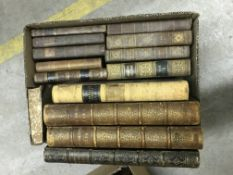"""Two boxes of antiquarian and other leather bound books to include """"The Art Journal"""" 1849 and"""