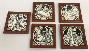 """A set of five Minton tiles designed by John Moyr Smith including """"Christ walking on the sea"""", """""""