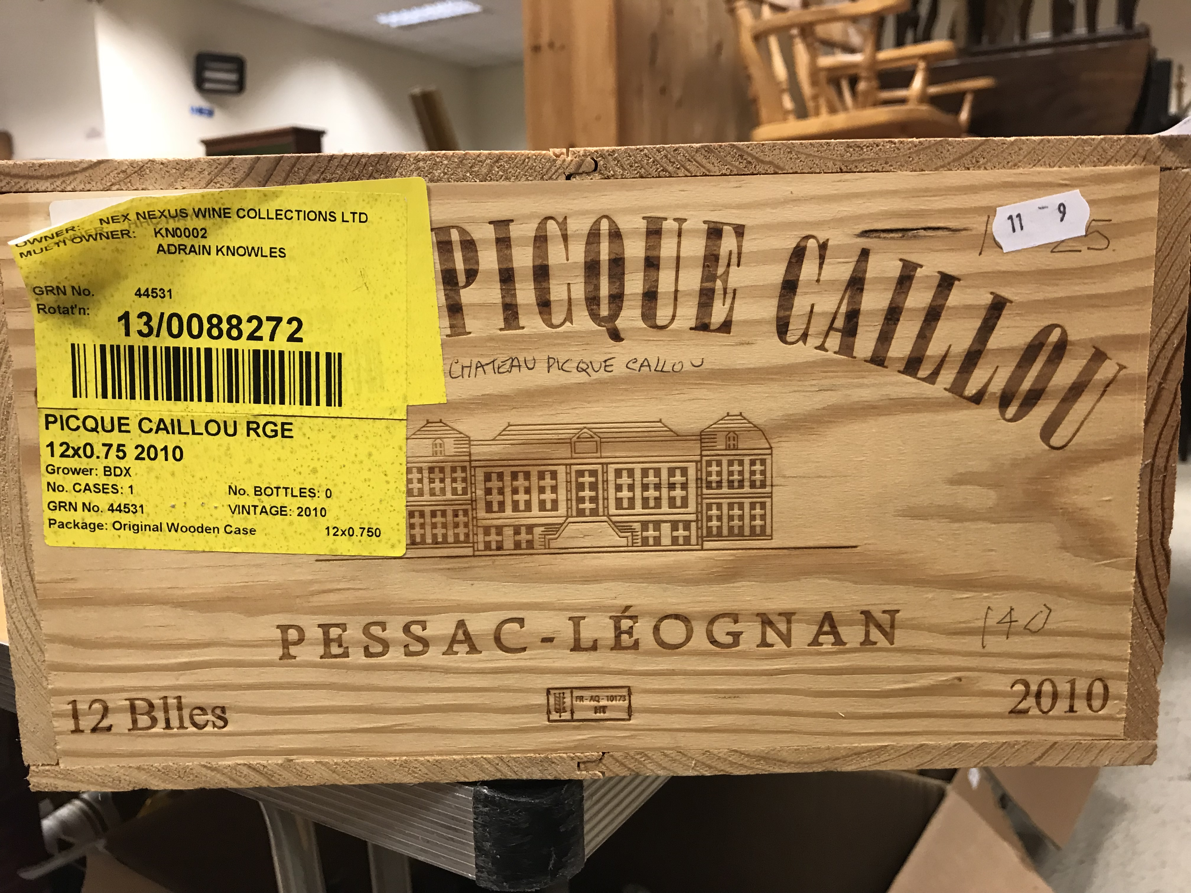 Chateau Pique Caillou Pessac-Léognan 2010 x 12 bottles (OWC)