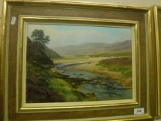 """WILLIAM GARFIT """"The …… below the waterfall on the Dulmain…(The Spey Kinrara) Aug 2004"""", oil on"""