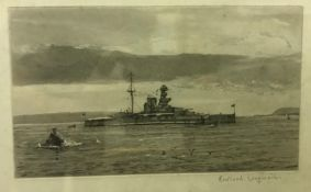 """AFTER ROWLAND LANGMAID """"Battleship"""", black and white etching, signed in pencil to the margin, size"""