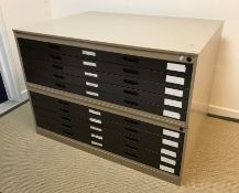 A modern painted plan chest of eight drawers in two sections, 132 cm wide x 94 cm deep x 92 cm high