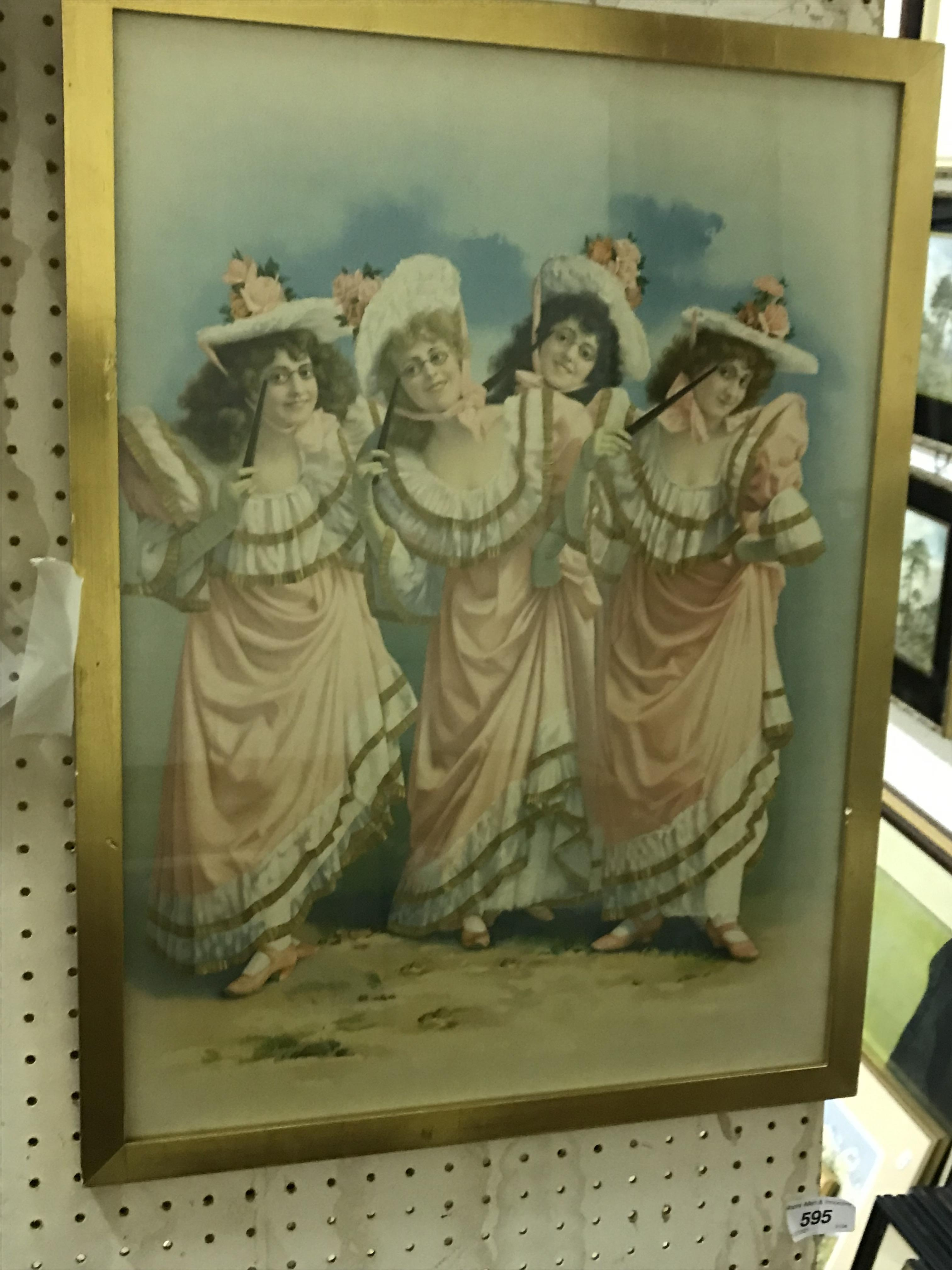 A collection of thirteen late Victorian/Edwardian chromolithographs mainly of young women in various - Image 2 of 3