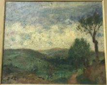 """GEORGE D'ESPAGNAT (1870-1950) """"Open landscape with trees in foreground"""", oil on canvas, initialled"""