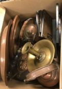 Three various copper kettles, monocular microscope and brass chamberstick, brass tray, copper