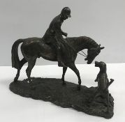 """A cold cast bronze figure of """"Huntsman on horseback with hound"""" AFTER A GEENTY, 33 cm long x 36.75"""