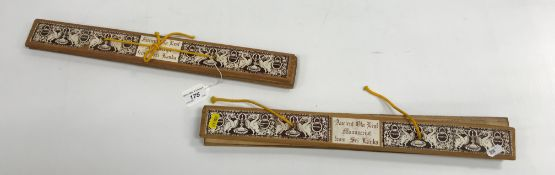 """Two leaf manuscripts in wooden bindings bearing labels inscribed """"Ancient ola leaf manuscript from"""