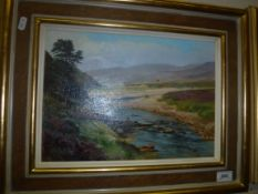 """WILLIAM GARFIT """"The Dulmain from the bridge with the red bothy in the middle distance (The Spey"""