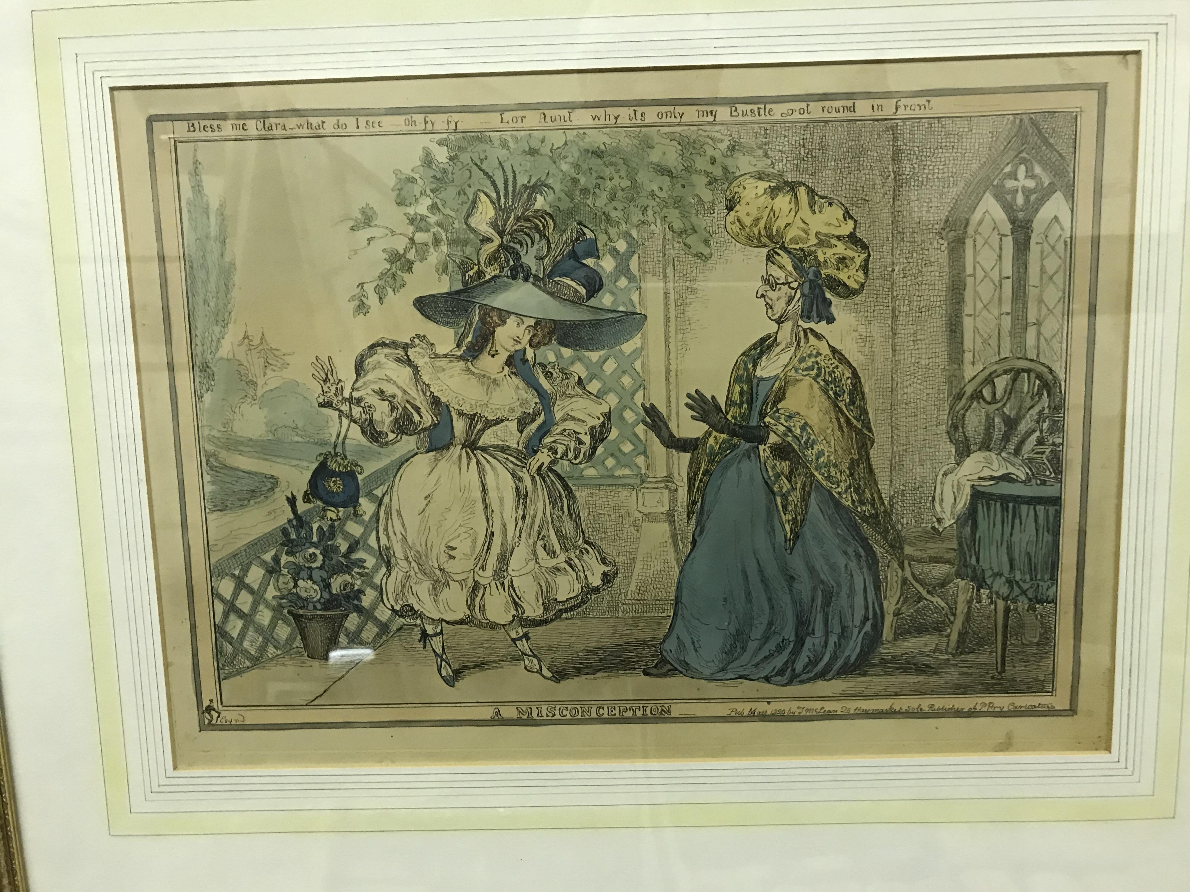 "PAUL PRY ""A Misconception"" colour etching pub. 1829 by T. M. McLean, plate size 26.5 cm x 38 cm - Image 2 of 4"