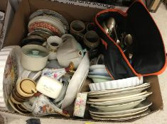 Four boxes of sundry china wares to include Colclough tea wares, a Royal Cauldon part dinner