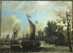 """SCHOOL OF ABRAHAM STORCK """"A river scene with boats and figures"""", study of Dutch sailing vessels on a"""