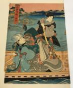 """19TH CENTURY JAPANESE SCHOOL """"Study of two figures in punt with monkey"""", together with two further"""