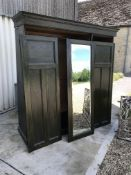 A circa 1900 stained oak triple wardrobe, 188 cm wide x 62 cm deep x 198 cm high, together with a