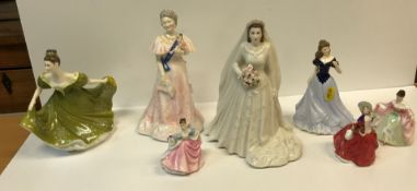 """A collection of china figurines, including Royal Worcester """"Her Majesty Queen Elizabeth II"""""""