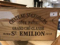 Chateau St. Georges (Côte Pavie) Grand Cru Classé St. Emilion, 2010 x 12 bottles (OWC)