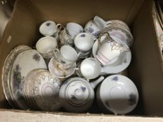 """Two boxes of assorted china wares, etc to include a Hancock & Son Worcester """"Ceramic colours"""""""