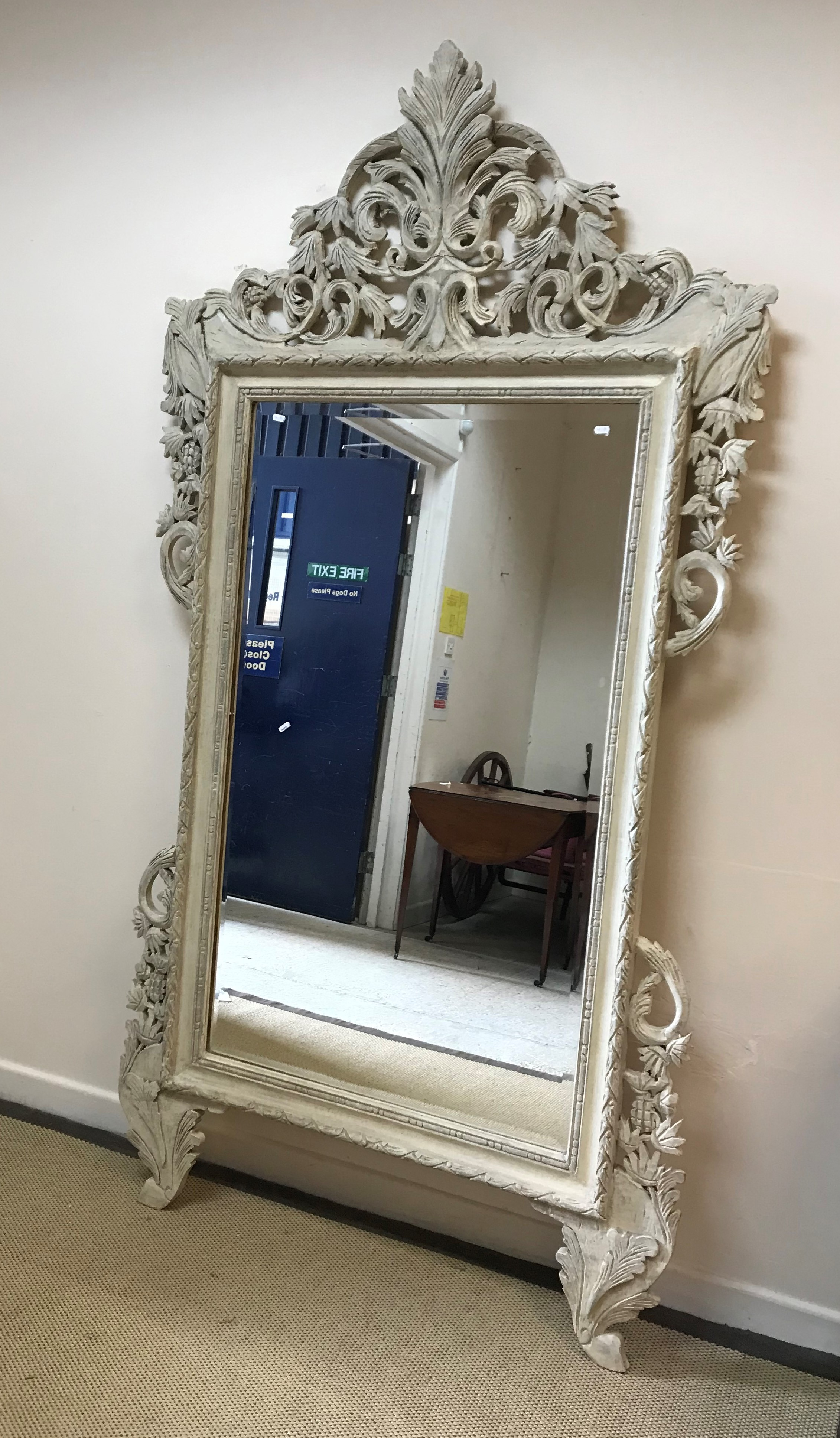 A modern painted framed wall mirror in the Continental style with rectangular bevel edged plate, 120