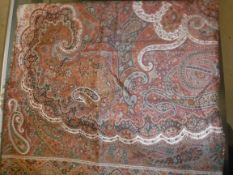 A large modern Paisley shawl or table cover in reds, oxide red, creams, fawn, etc