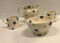 """A collection of Emma Bridgwater """"Blue Starry Skies Baby"""" dinner and tea wares including large jug"""