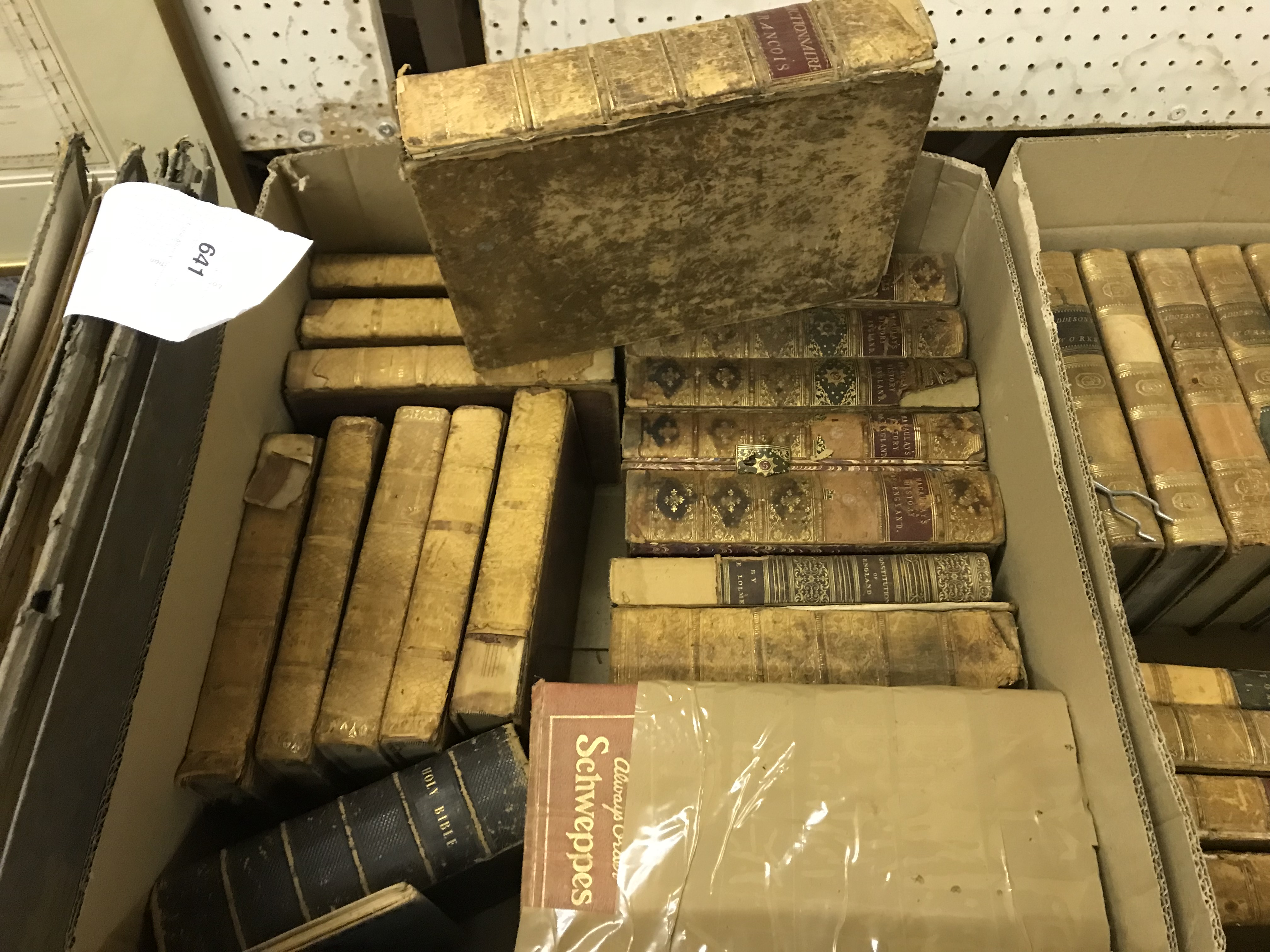 """Two boxes of antiquarian books to include RICHARD HURD """"The Works of the Right Hon Joseph - Image 2 of 2"""